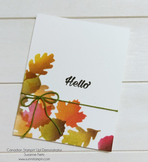 October card w leaves in the corner