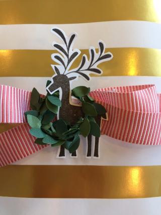 Gold striped bag reindeer