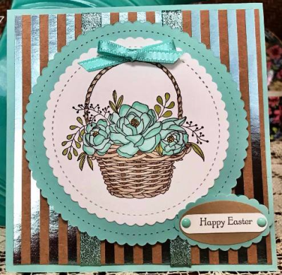 Happy Easter basket in turquoise