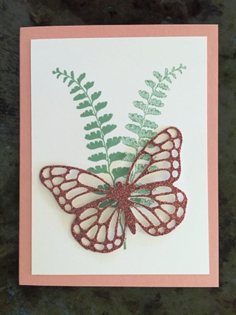 Fern with glimmer butterfly card