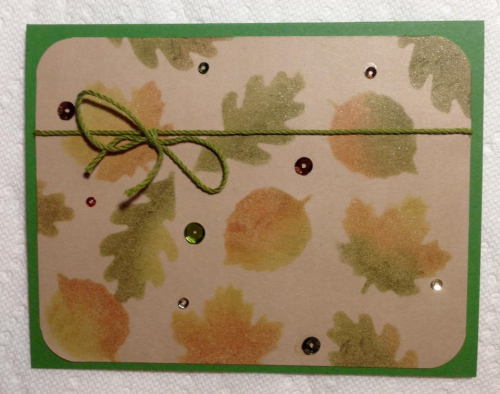 October card w leaves & sequins