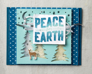 Peace on Earth card in blue 3