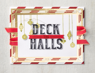 Deck the Halls gold frame card