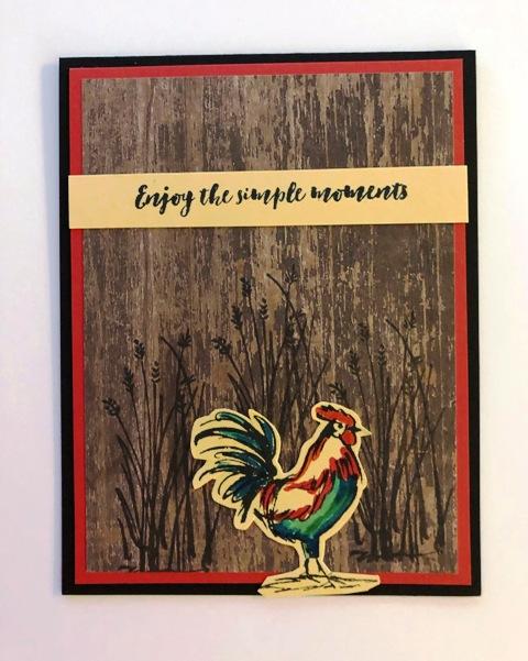 Rooster w dark wood background
