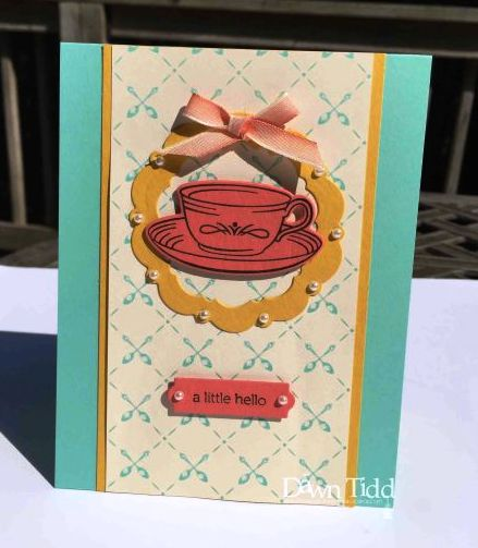 Tea card using dies to circle cup