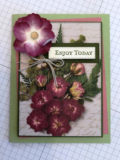 Card with washi tape rose
