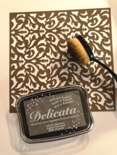 Delicata Ink Mask and Oval Brush