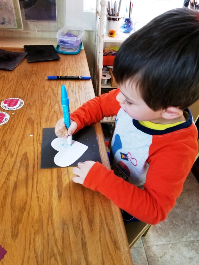 Grandson coloring heart card