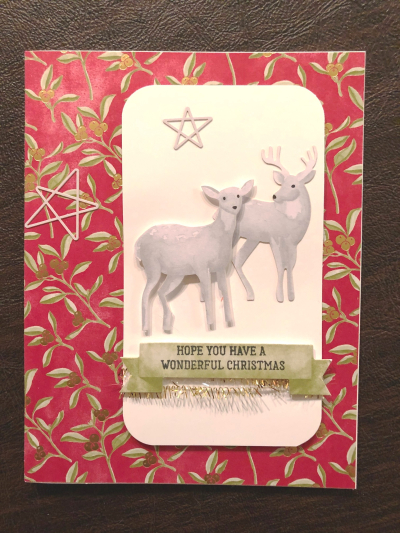 Card w two deer