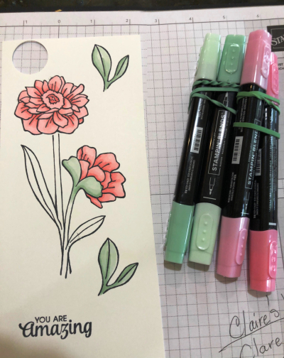 Blends and stamped flower for class