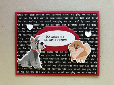 Dog card with hearts